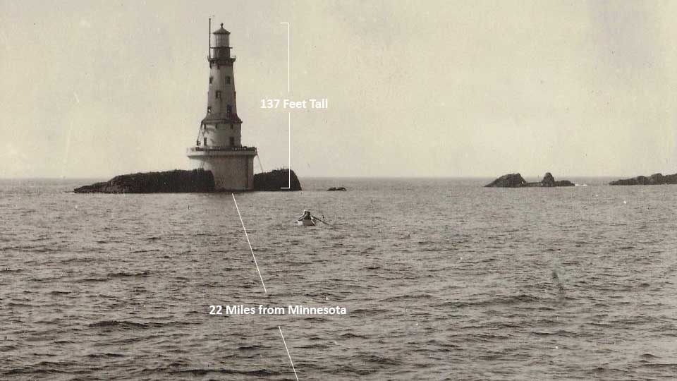 Graphic demonstrating the size and location of the Rock of Ages Lighthouse